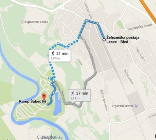 Pot od železniške postaje Lesce do avtokampa Šobec