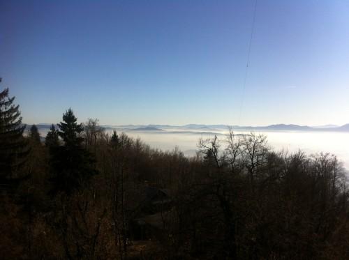 Pogled na Ljubljansko meglo iz vrha stolpa na Rašici