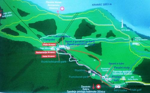 Zemljevid poletnega parka na Krvavcu