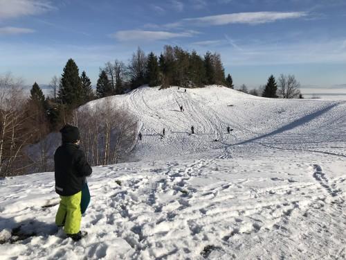 Spontano sankališče na vrhu nad Katarino ( v ozadju megla nad Ljubljansko kotlino)