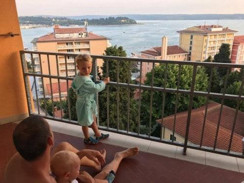 Razgled iz družinske sobe, Hotel Mirna, Portorož