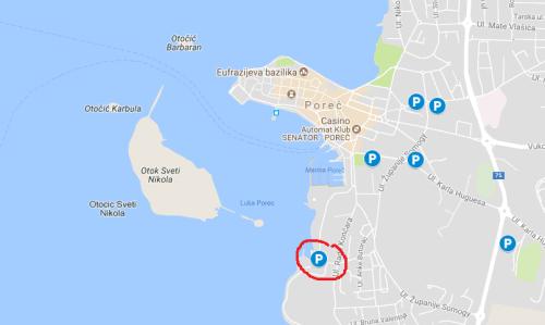 Parkiranje v Poreču (otok sv. Nikole)
