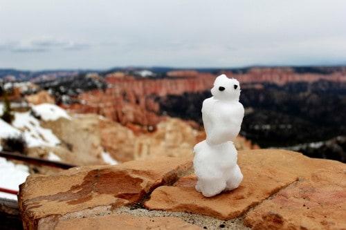 Bryce Canyon in čisto pravi snežak :) (družinsko po narodnih parkih ZDA)