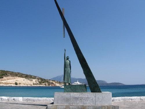 Spomenik v mestu Pitaghorion s Pitagoro, otok Samos