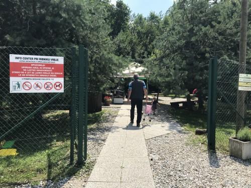 Pred vstopom v Ponirkov info center ob ribniku Vrbje