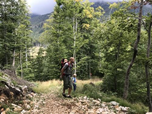 Eden zadnjih vzponov, preden dosežemo cerkev sv. lovrenca (Pot pod Storžičem)
