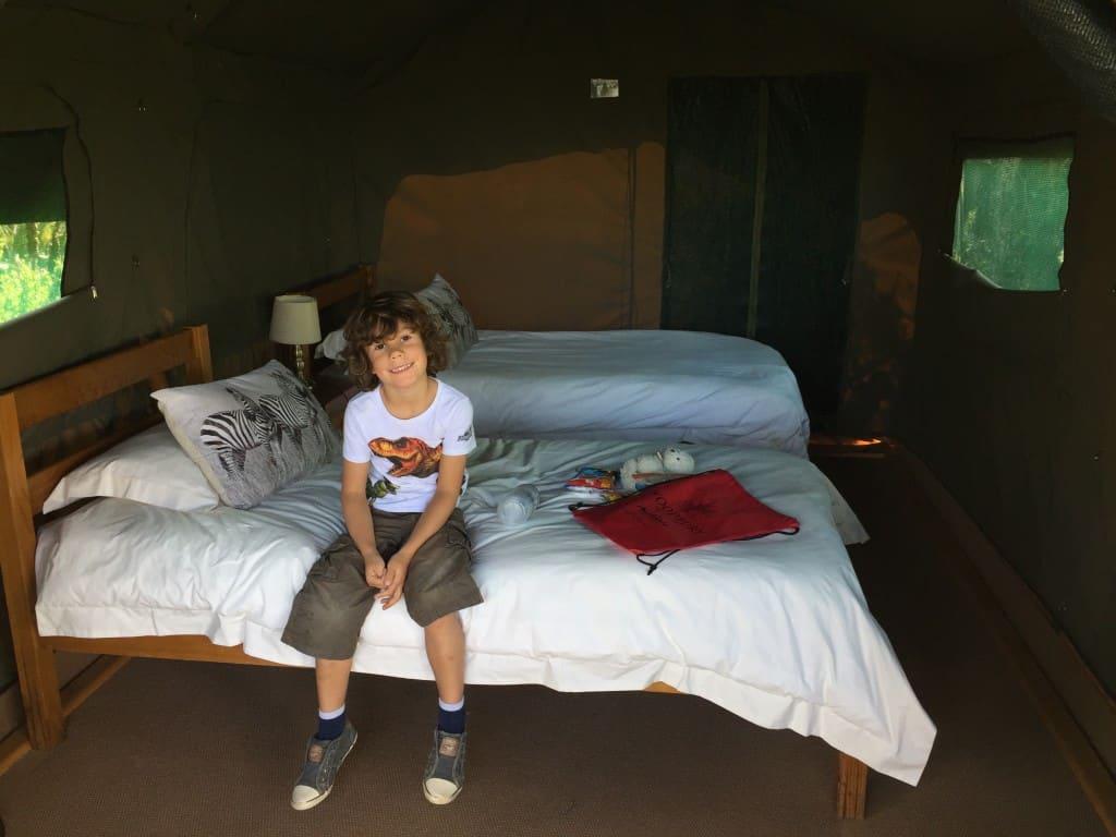 Prostorna notranjost šotora, Woodbury Tented Camp